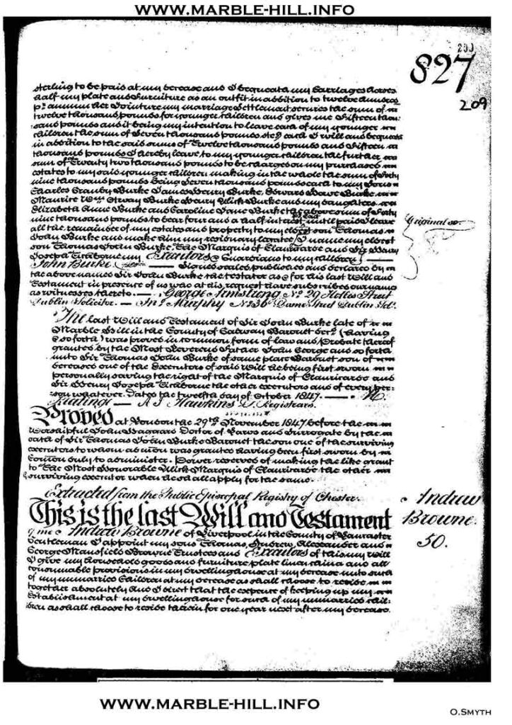 Will of Sir John Burke of Marble Hill page 2